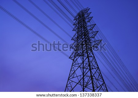 electricity tower with blue sky - stock photo