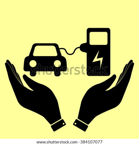 Electrocar battery charging sign. Flat style icon illustration. - stock photo