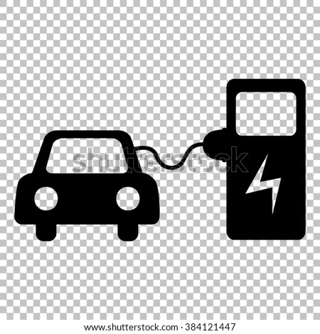 Electrocar battery charging sign. Flat style icon on transparent background - stock photo