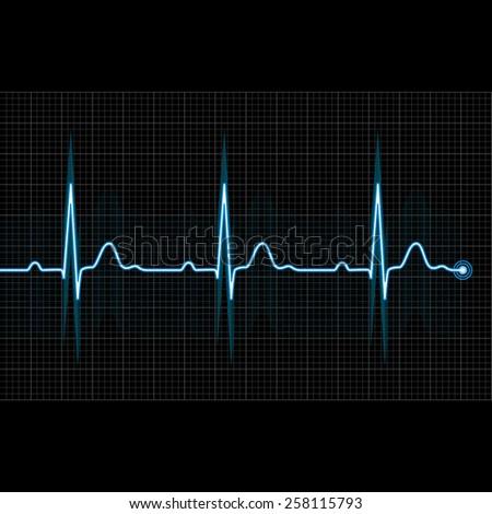 Electrocardiogram 2d illustration on grid background, raster - stock photo