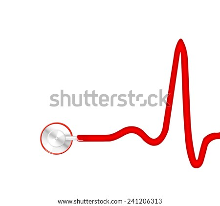Electrocardiogram (ECG, heart monitor) with stethoscope - stock photo
