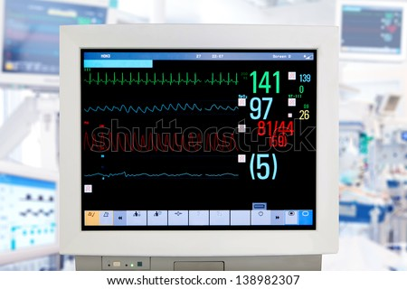 Electrocardiogram monitor in intensive care unit - stock photo