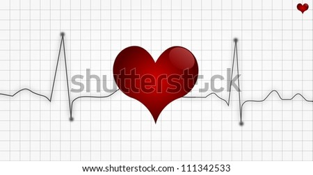 Electrocardiogram or Cardiogram or EKG with heart symbol - stock photo