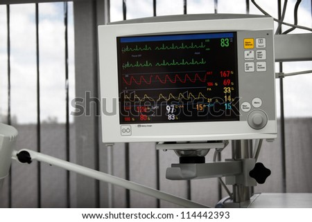 Electrocardiography monitor (ECG) in working mode with heart beat lines on screen - stock photo
