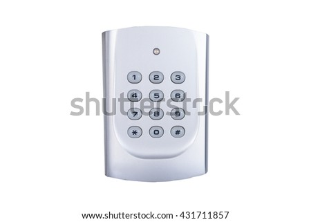 electronic access control door box with numeric keypad on white background - stock photo