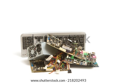 Electronic and computer parts waste - stock photo