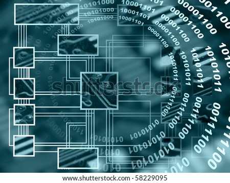 Electronic background with electrical components and scheme. - stock photo