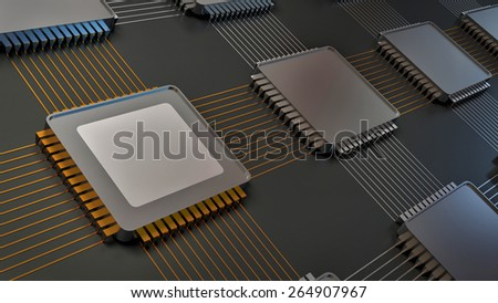 electronic board and main chip - stock photo