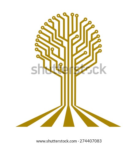 electronic board in the form of a tree - stock photo