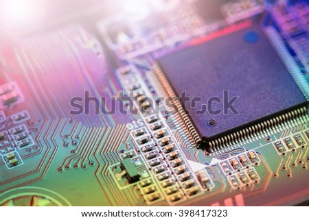 Electronic Board,Small depth of field with color process - stock photo