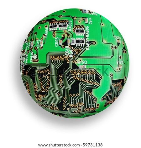 electronic board sphere, isolated cybernetic globe, green technology - stock photo
