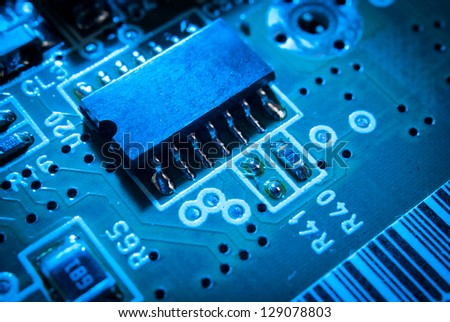 electronic board toned blue - stock photo