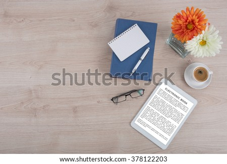 Electronic book, coffee and book, top view (lorem ipsum text used) - stock photo