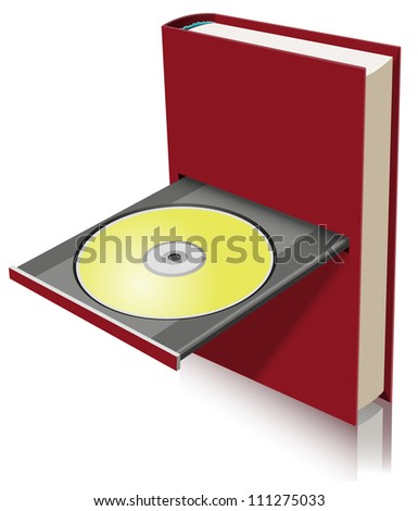Electronic book concept as a combination of paper book and disk drive - stock photo