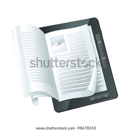 electronic book concept - raster illustration - stock photo