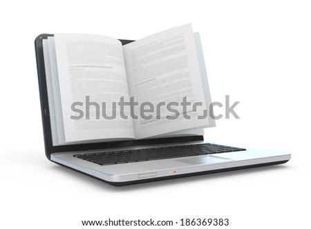 Electronic book. E-reading. E-learning. Laptop with book pages isolated on white.  - stock photo