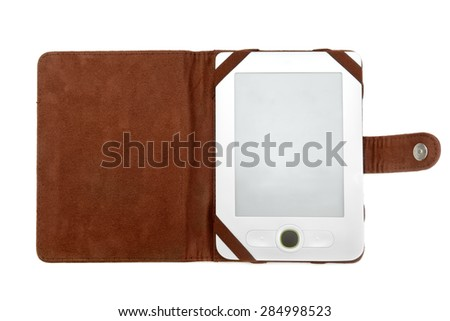 electronic book isolated on white background - stock photo