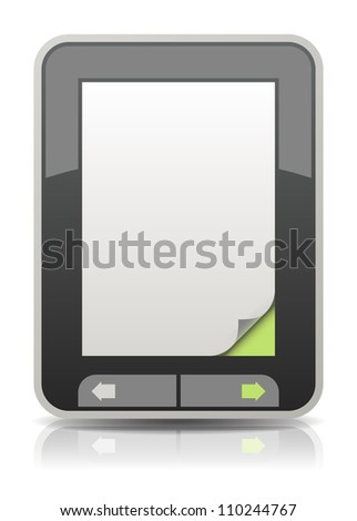 Electronic book reader with a curled page corner - stock photo