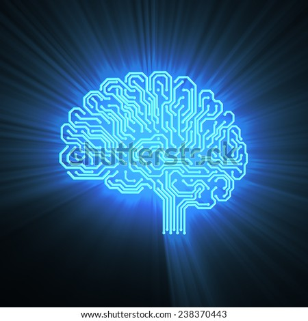 Electronic brain on black with a shine - stock photo