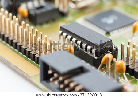 Electronic chip on circuit board. Circuit board with electronic components. - stock photo