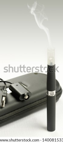Electronic cigarette, detail and components. E-cigarette business - stock photo