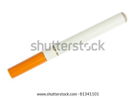 Electronic cigarette top view isolated on white background - stock photo