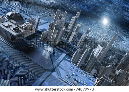 electronic circuit and city in 3d - stock photo
