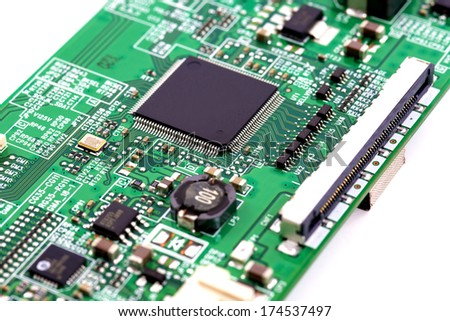 Electronic circuit and component background - stock photo