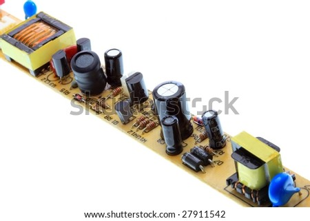 Electronic Circuit Board. Close-up. - stock photo