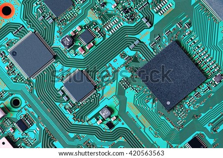 Electronic circuit board close up - stock photo