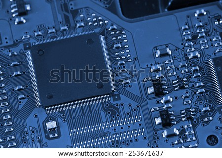 Electronic circuit board. Macro photo. Great details ! - stock photo