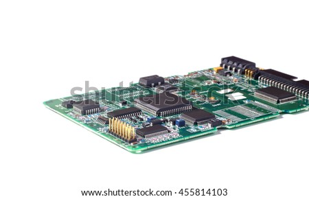 Electronic circuit board or PCB with chips and other components. - stock photo