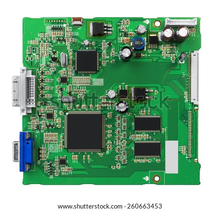 Electronic circuit board with processor, close up. Isolated on white. - stock photo