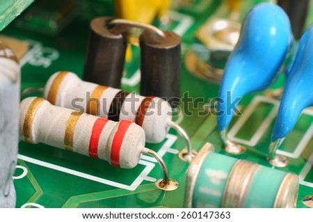 Electronic circuit board with radio components - stock photo