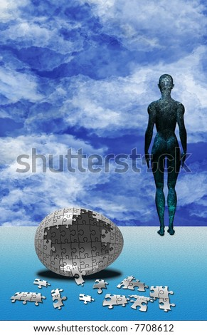Electronic circuit human and empty puzzle egg - stock photo