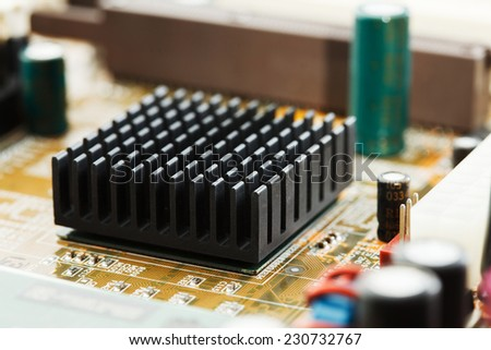 electronic circuit of motherboard, close-up - stock photo