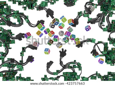 Electronic circuit wired arms with toy cubes, over white, 3d illustration - stock photo