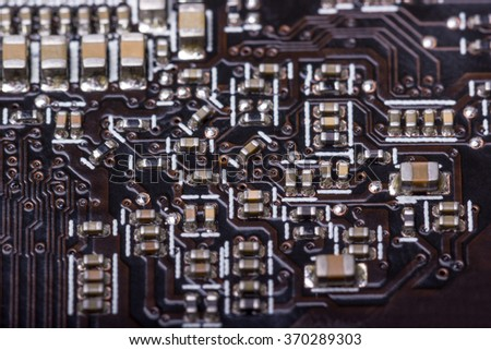 Electronic collection - computer circuit board with radio components - stock photo