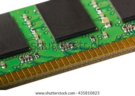 Electronic collection - computer random access memory (RAM) modules isolated on the white background - stock photo