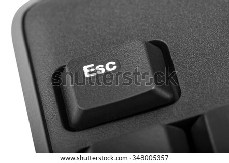 Electronic collection - detail black computer keyboard with key esc - stock photo