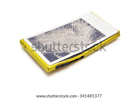 electronic device with broken touchscreen - stock photo