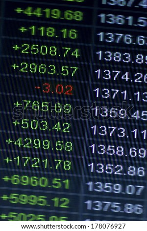 Electronic digital interface at a stock exchange or bourse showing - stock photo