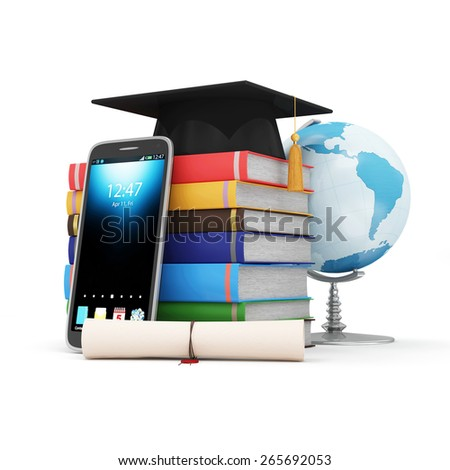 Electronic Educational Technology or E-Learning Concept. Modern Smart Phone with Desk Globe, Graduation Cap, Diploma and Stack of Colorful  Books. (Elements of this image furnished by NASA) - stock photo