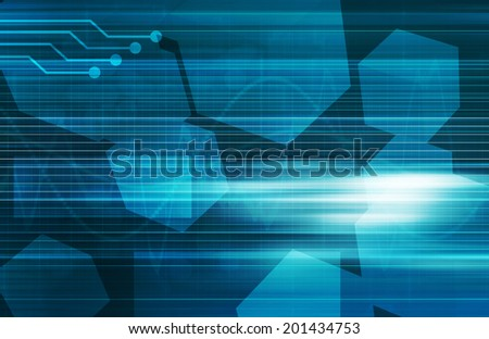 Electronic Engineering with Glowing Circuits As Art - stock photo