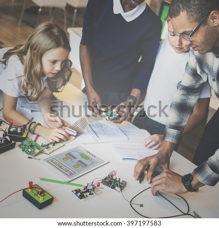 Electronic Experiment Observation Physics Study Concept - stock photo