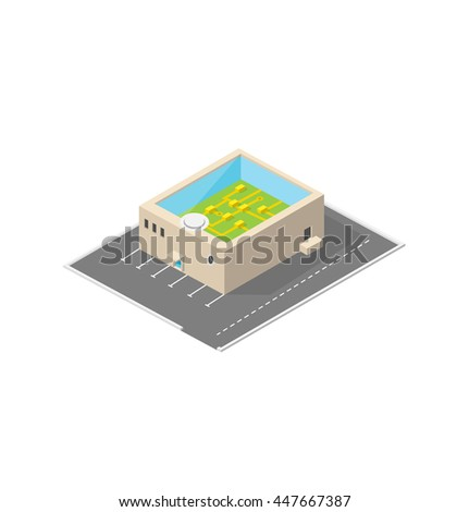 Electronic fabric. Isometric building. - stock photo