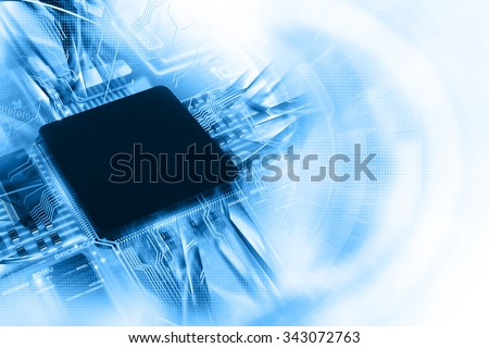 Electronic integrated circuit chip - stock photo