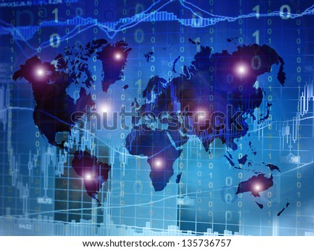 electronic investment worldwide - stock photo