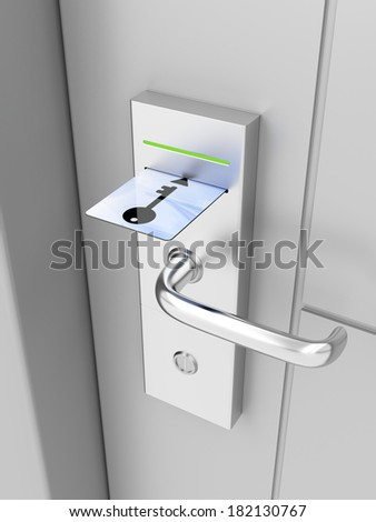 Electronic lock on door with keycard - stock photo