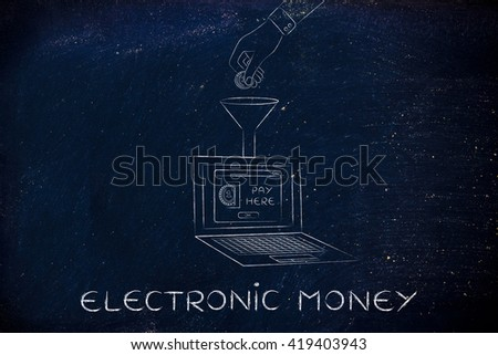 electronic money: hand dropping coin into a laptop with Insert Coin pop-up message through a funnel - stock photo